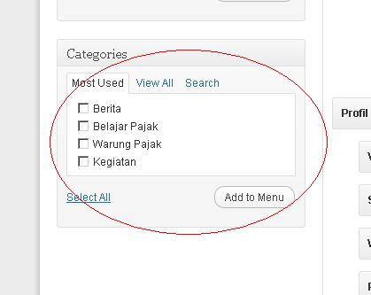 memasukkan categories ke menu
