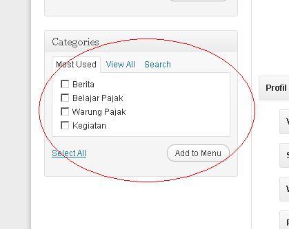 memasukkan categories ke menu