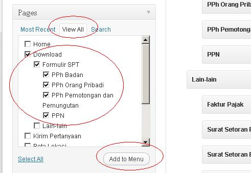 menambah pages ke menu
