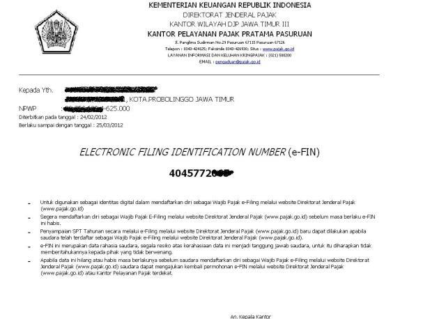 pemberitahuan e-fin dari KPP