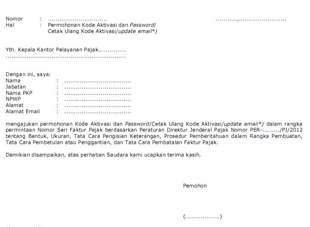 permohonan kode aktivasi dan password