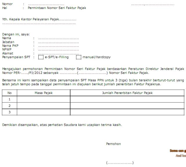 surat permintaan nomor faktur